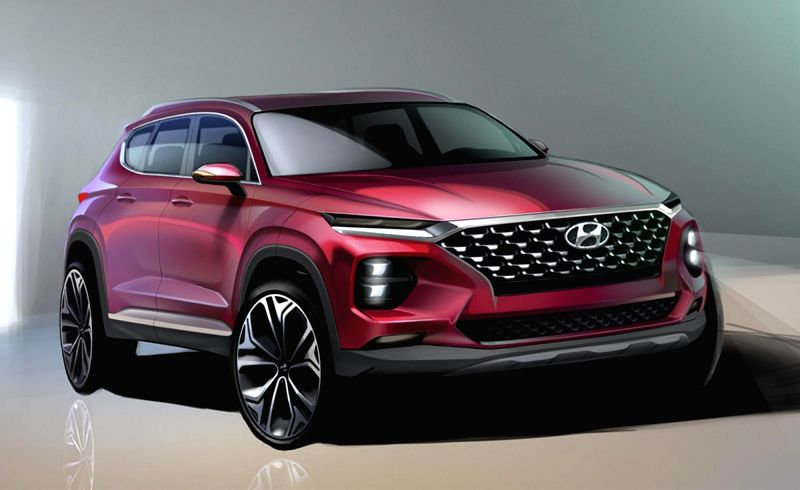 This rendering, released Hyundai Motor Co. on Jan. 30, 2018, shows the carmaker's all-new Santa Fe SUV, which will launch domestically in February 2018.