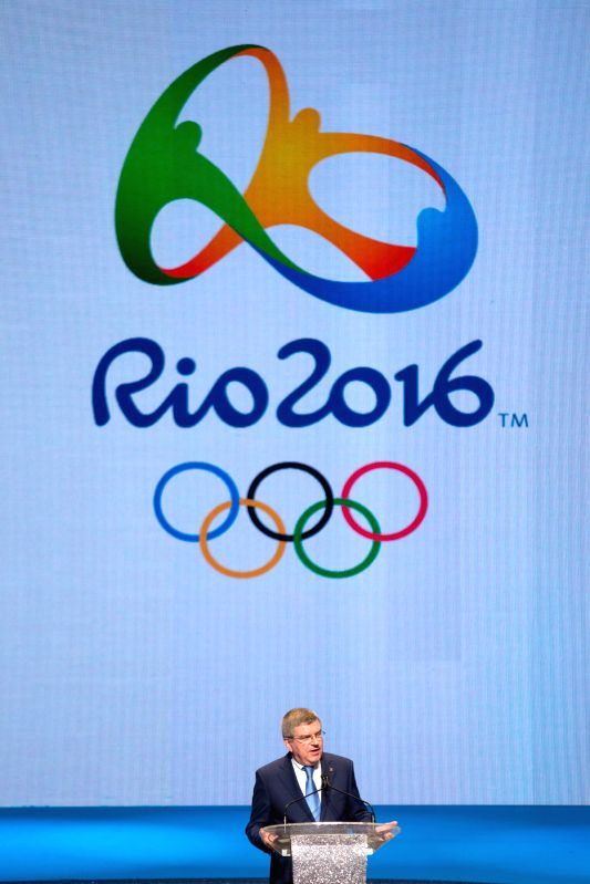 Thomas Bach, president of the International Olympic Committee, speaks during a celebration ceremony marking the one year ahead of the inauguration of Rio 2016 ...