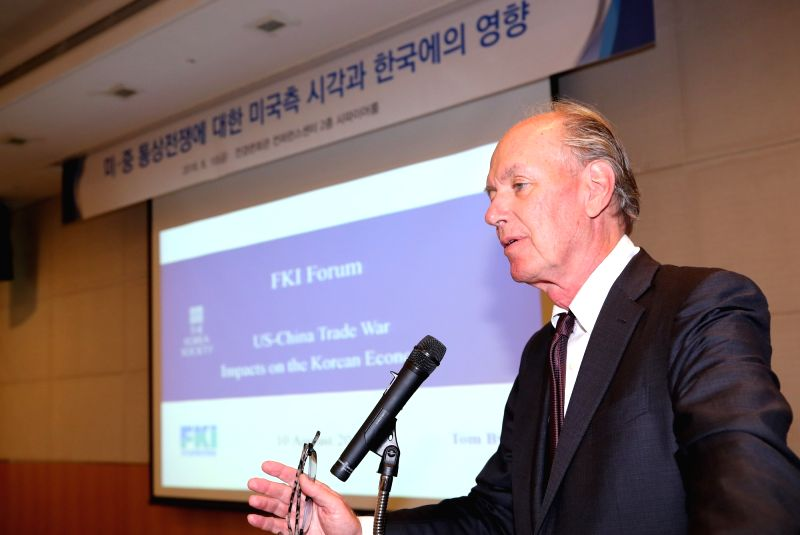 Thomas Byrne, president of the New York-based Korea Society, speaks during a conference at the Federation of Korean Industries (FKI) in Seoul on Aug. 10, 2018, on the impact of the U.S.-China ...