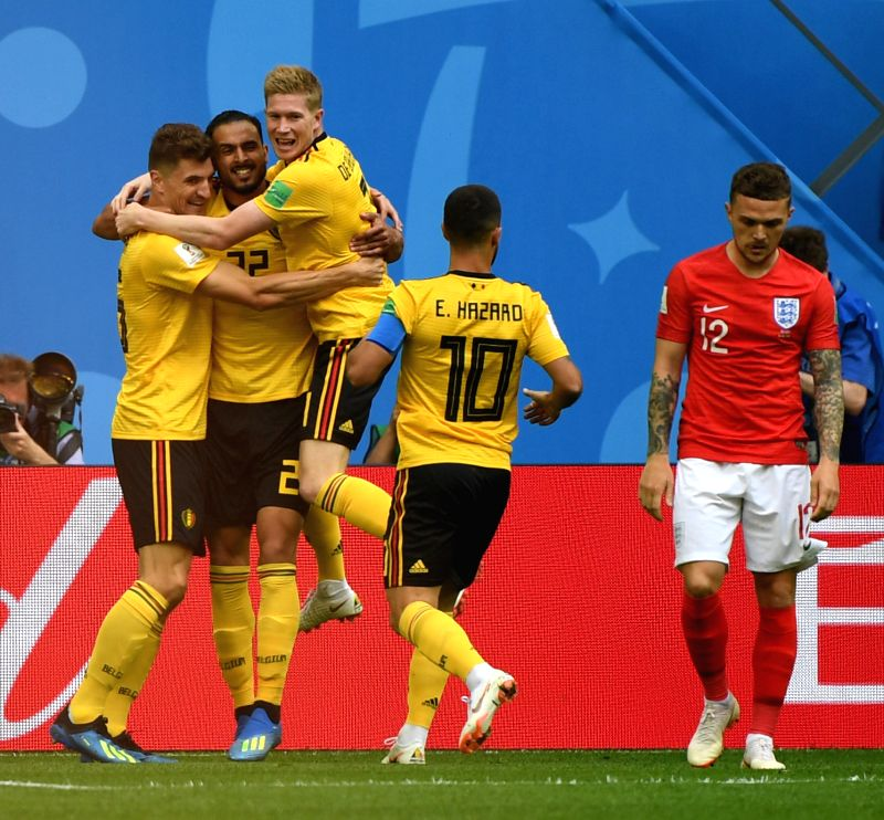 Thomas Meunier (1st L) of Belgium celebrates scoring with teammates during the 2018 FIFA World Cup third place play-off match between England and Belgium ...