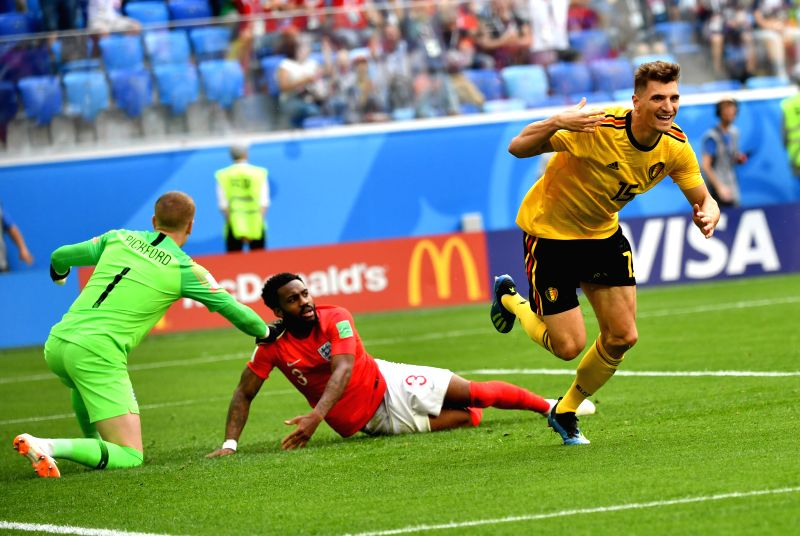 Thomas Meunier (1st R) of Belgium celebrates scoring during the 2018 FIFA World Cup third place play-off match between England and Belgium in Saint ...