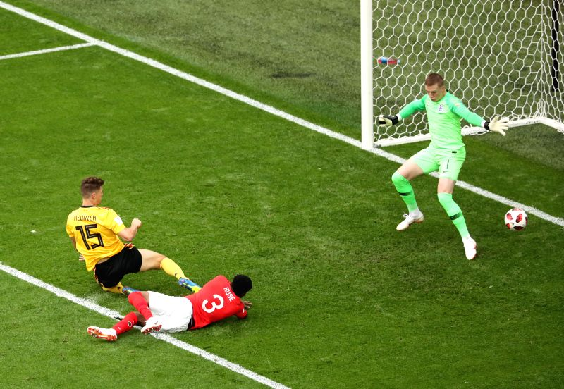 Thomas Meunier (L) of Belgium shoots to score during the 2018 FIFA World Cup third place play-off match between England and Belgium in Saint Petersburg, ...