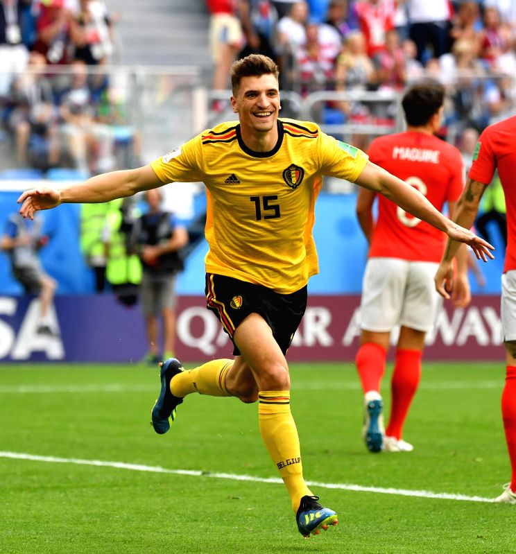 Thomas Meunier of Belgium celebrates scoring during the 2018 FIFA World Cup third place play-off match between England and Belgium in Saint Petersburg, ...