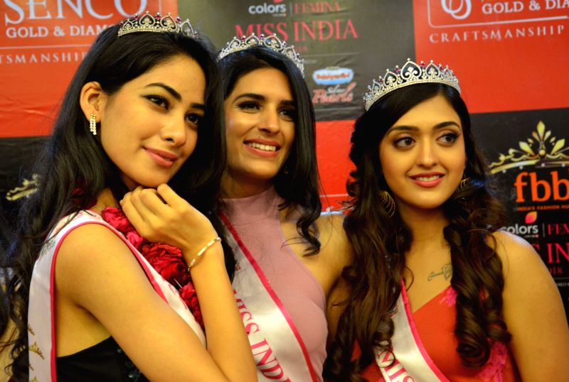 Three of the eight finalists of Femina Miss India North 2018 during the inauguration of a fashion jewellery store, in Gurugram on April 13, 2018.