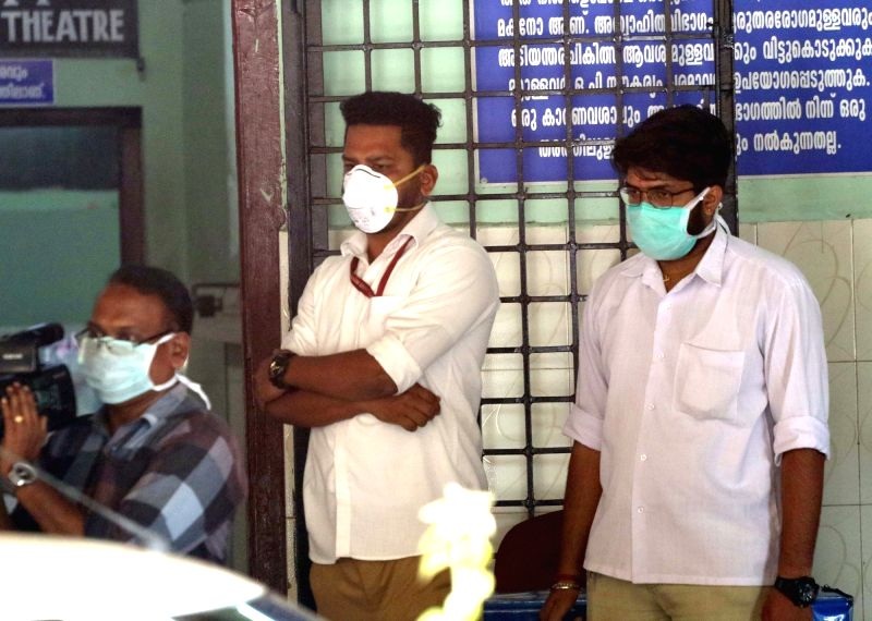 Thrissur: People wearing mask to take precaution against the Coronavirus (2019-nCoV) outside a hospital in Thrissur, Kerala on Jan 31, 2020. (Photo: IANS)