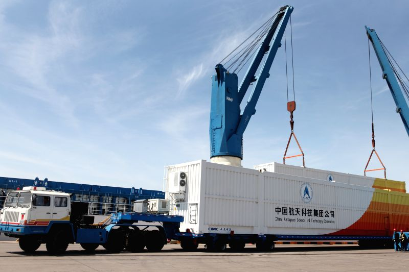 TIANJIN, May 8, 2016 - A container carrying China's new-generation Long March-7 rocket is seen at the port in north China's Tianjin, May 7, 2016. The Long March-7 rocket departed for its launch base ...
