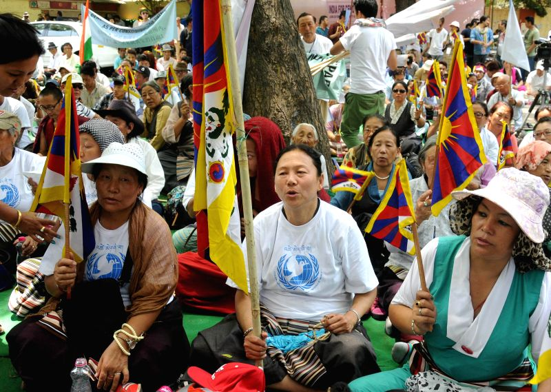 Tibetan activists demonstrate to demand release of 11th Panchen Lama, Gendun Choekyi Nyima and other political prisoners in China, at Jantar Mantar in New Delhi on April 25, 2014.