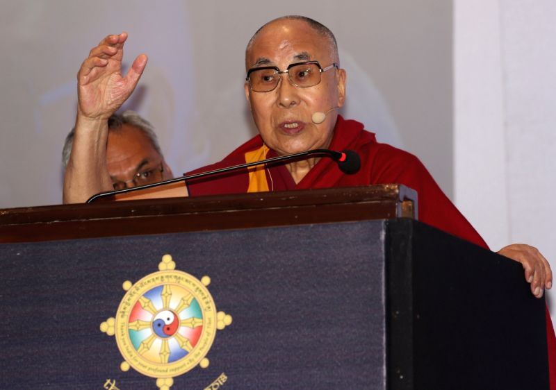 "Tibetan spiritual leader the Dalai Lama addresses during ""Thank You Karnataka"" an event to mark 60th year of Tibetan arrival to India, in Bengaluru on Aug 10, 2018."