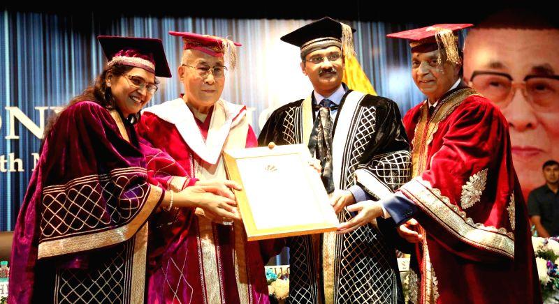 Tibetan spiritual leader the Dalai Lama during a college programme in Jalandhar on Nov 14, 2015.