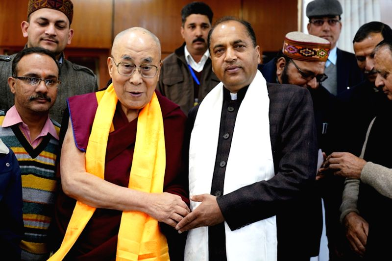 Tibetan Spiritual leader, the Dalai Lama meets Himachal Pradesh Chief Minister Jai Ram Thakur at his residence in McLeod Ganj,  Dharamshala on Feb 1, 2018. - Jai Ram Thakur