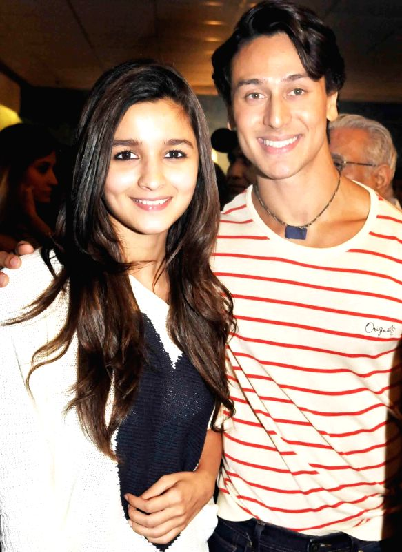 Tiger Shroff and Aliya Bhatt during special screening of film 2 States at YRF Studios in Mumbai on April 17, 2014.