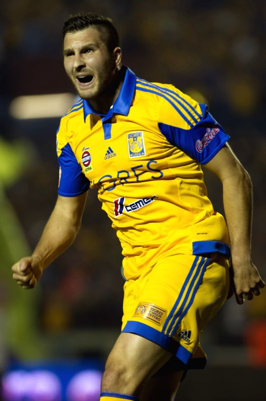 Tigres' Andre-Pierre Gignac reacts during the first leg match against Pumas de la UNAM at the Final of the Opening Tournament of the MX League, held at the ...