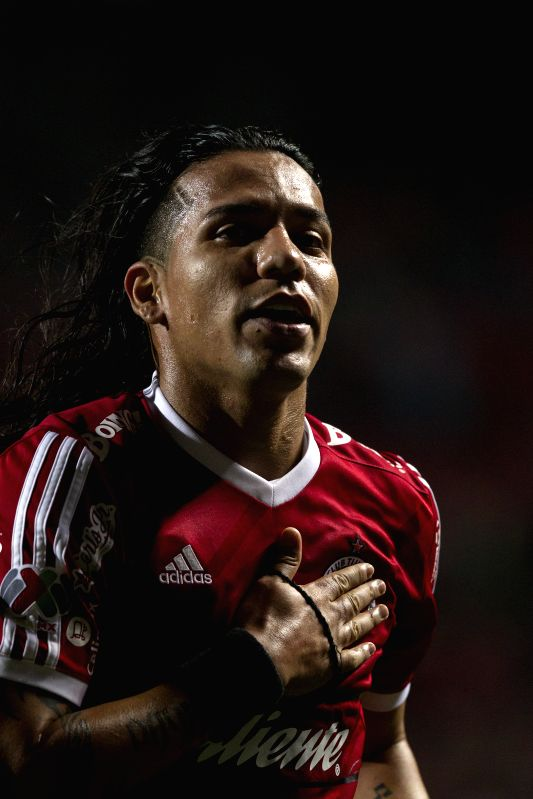 Dayro Moreno of Xolos reacts after a match of MX League's Journey 2 against America at Caliente Stadium, in Tijuana City, northwest Mexico, on Jan. 16, 2015. ...
