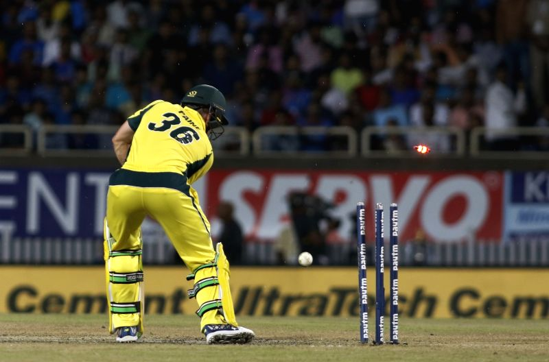 Tim Paine of Australia gets dismissed during the first T20 match between India and Australia at JSCA International Stadium in Ranchi on Oct 7, 2017.