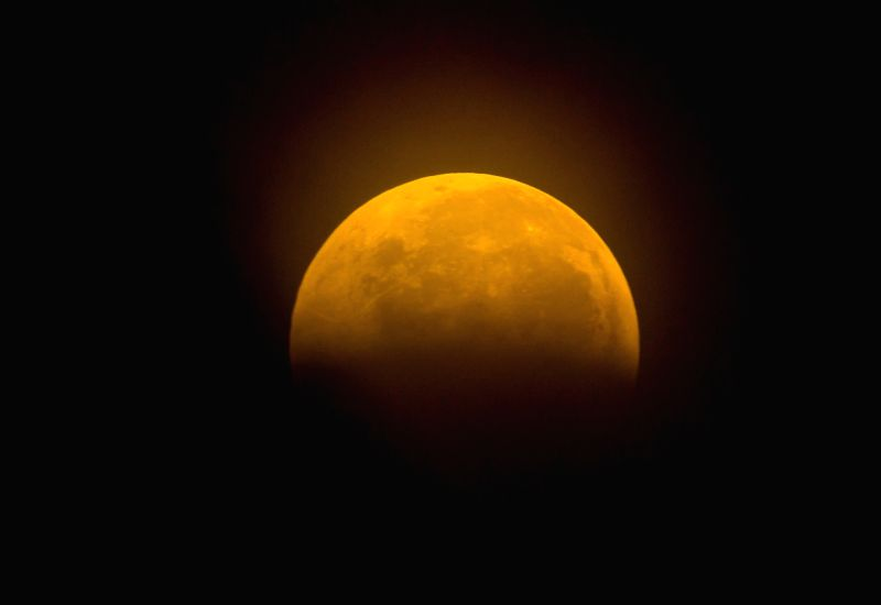 TINH HAU GIANG, July 28, 2018 - The moon is seen during a lunar eclipse in Tinh Hau Giang, Vietnam, July 28, 2018.