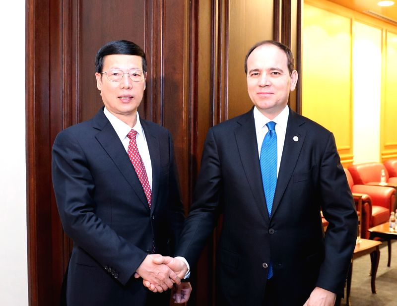 TIRANA, April 18, 2017 - Chinese Vice Premier Zhang Gaoli (L) meets with Albanian President Bujar Nishani in Tirana, Albania, April 17, 2017.   (Xinhua/Pang Xinglei)