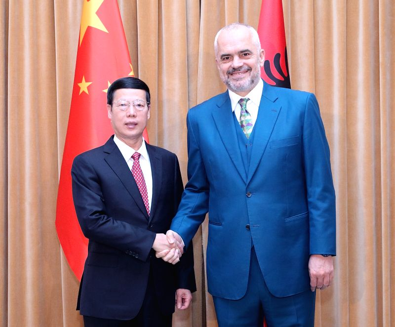 TIRANA, April 18, 2017 - Chinese Vice Premier Zhang Gaoli (L) holds talks with Albanian Prime Minister Edi Rama in Tirana, Albania, April 17, 2017.  (Xinhua/Wang Ye) - Edi Rama