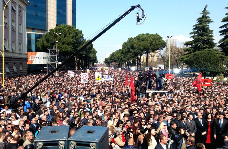 Albanian opposition supporters protest in front of the office of Albanian prime minister in Tirana, capital of Albania on March 12, 2015. Tens of thousands of ... - Ilir Meta