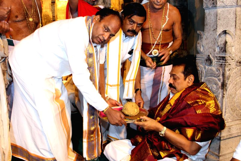 President of Sri Lanka Mahinda Rajapaksa duriung his visit to Lord Venkateswara Temple at Tirumala, near Tirupati in Chittoor district of Andhra Pradesh on Dec 10, 2014.
