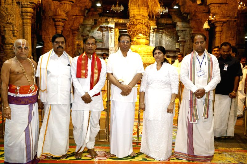Sri Lankan President Maithripala Sirisena and the First Lady Jayanthi Sirisena during their visit to the Lord Venkateswara temple in Tirumala of Andhra Pradesh's Tirupati on Feb 18, 2015.