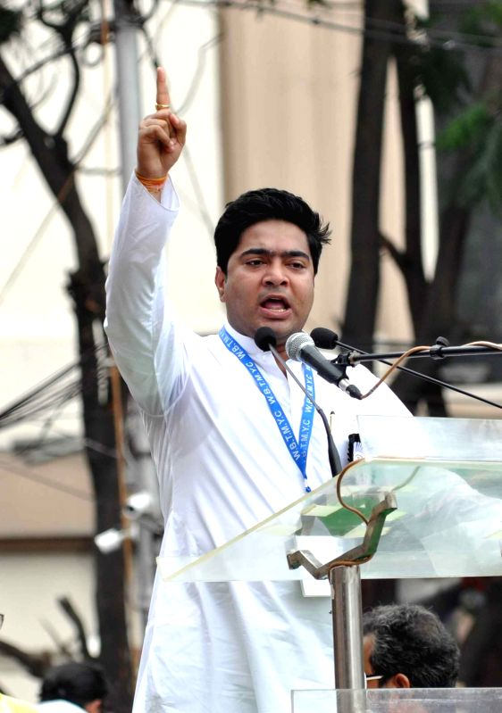 TMC leader Abhishek Banerjee addresses during the Trinamool Congress (TMC) Shaheed Diwas rally in Kolkata on July 21, 2016. - Abhishek Banerjee
