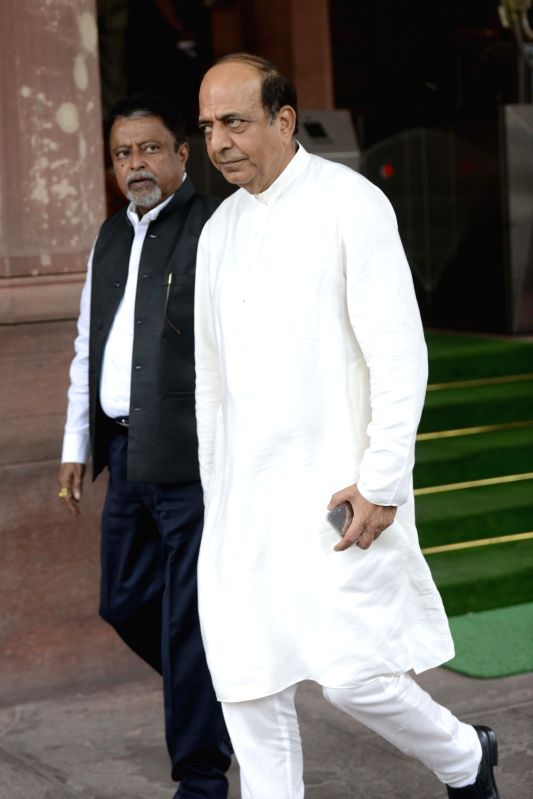 TMC MP Dinesh Trivedi and Mukul Roy at Parliament in New Delhi, on July 25, 2016. - Mukul Roy