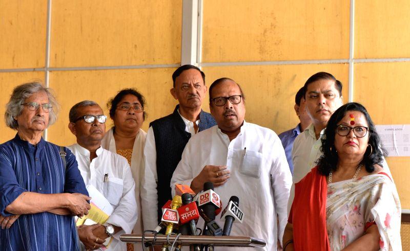 TMC MP Shukhendu Shekhar Roy along with party legislators, talks to the media at Parliament, in New Delhi on July 30, 2018. - Shukhendu Shekhar Roy