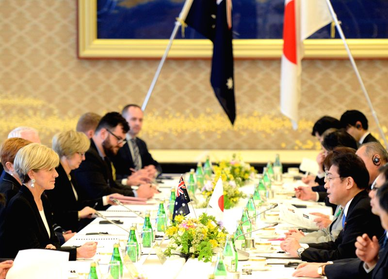 TOKYO, April 20, 2017 - Japan's Foreign Minister Fumio Kishida (1st R) and Australia's Foreign Minister Julie Bishop (1st L) hold talks in Tokyo, Japan, on April 20, 2017. - Fumio Kishida