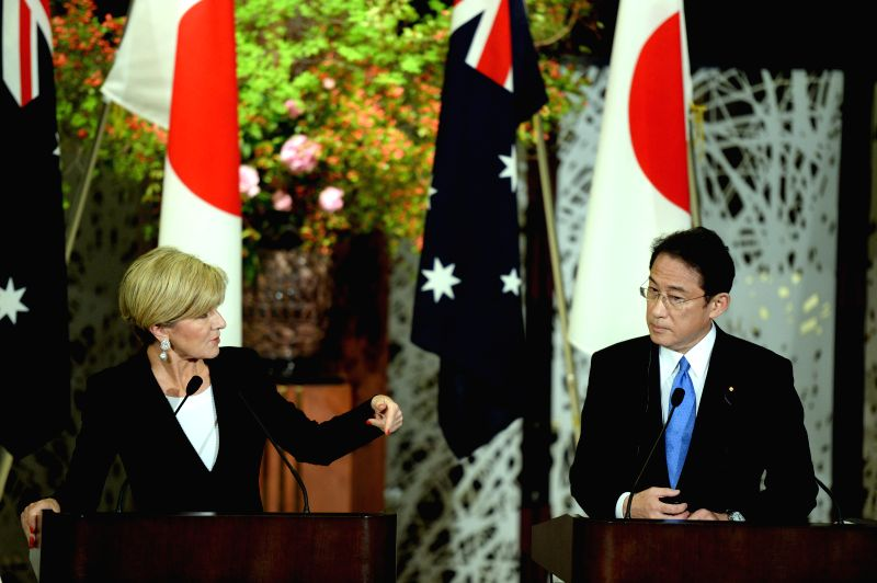 TOKYO, April 20, 2017 - Japan's Foreign Minister Fumio Kishida (R) and Australia's Foreign Minister Julie Bishop attend a joint press conference in Tokyo, Japan, on April 20, 2017. - Fumio Kishida