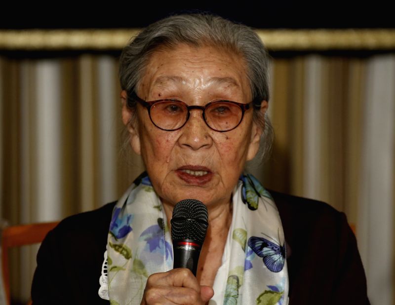 "Kim Bok-tong, a former ""comfort woman"", speaks during a press conference in Tokyo, Japan, April 24, 2015."