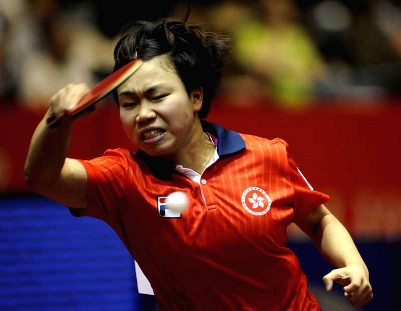 Lee Ho Ching of Hong Kong of China competes with Iveta Vacenovska of the Czech Republic during the women's single's match in Zen Noh 2014 World Table Tennis ...