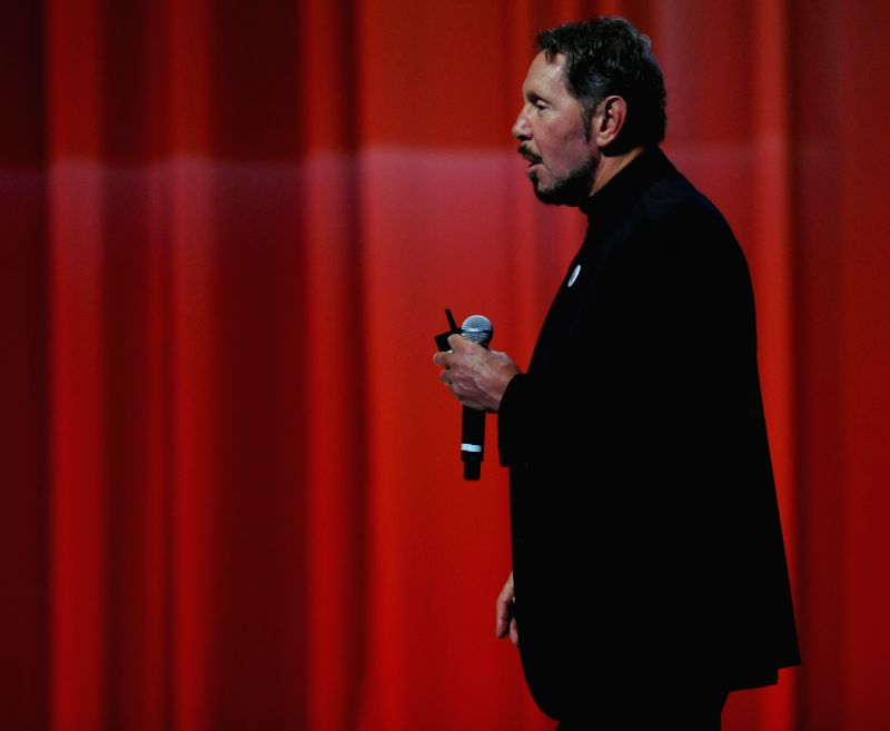 """Oracle Corporation's Executive Chairman and Chief Technology Officer Larry Ellison speaks about the """"Oracle cloud strategy"""" during a keynote lecture at ..."""