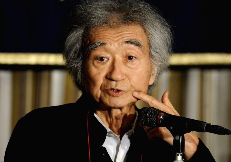 "Japanese conductor Seiji Ozawa replies to media at Foreign Correspondents' Club in Tokyo, Japan, Aug. 4, 2014. A music festival ""Saito Kien Festival ..."