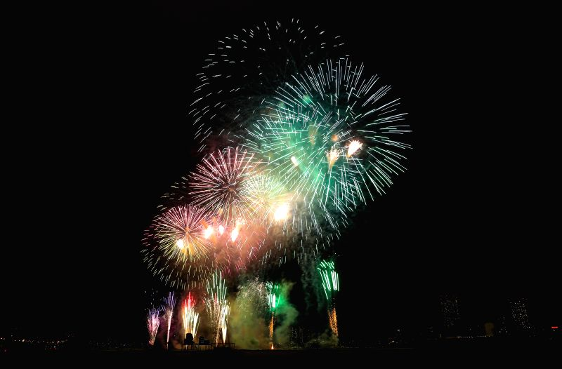 TOKYO, Aug. 4, 2018 - The 43th Edogawa Fireworks Festival is held in Tokyo, Japan on Aug. 4, 2018. Eight different themed fireworks were performed with music during the festival.