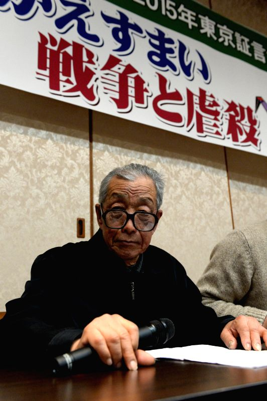 Chen Deshou, a survivor of Nanjing Massacre, addresses local people in Tokyo, Japan, Dec. 9, 2015, on the bitter experience of his family during the notorious Nanjing ...