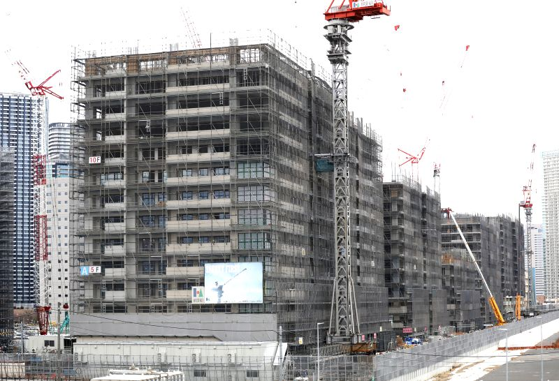 TOKYO, Feb. 12, 2019 (Xinhua) -- The athletes' village of the Tokyo 2020 Olympic Games is under construction in Tokyo, Japan, on Feb. 12, 2019. (Xinhua/Du Xiaoyi/IANS)