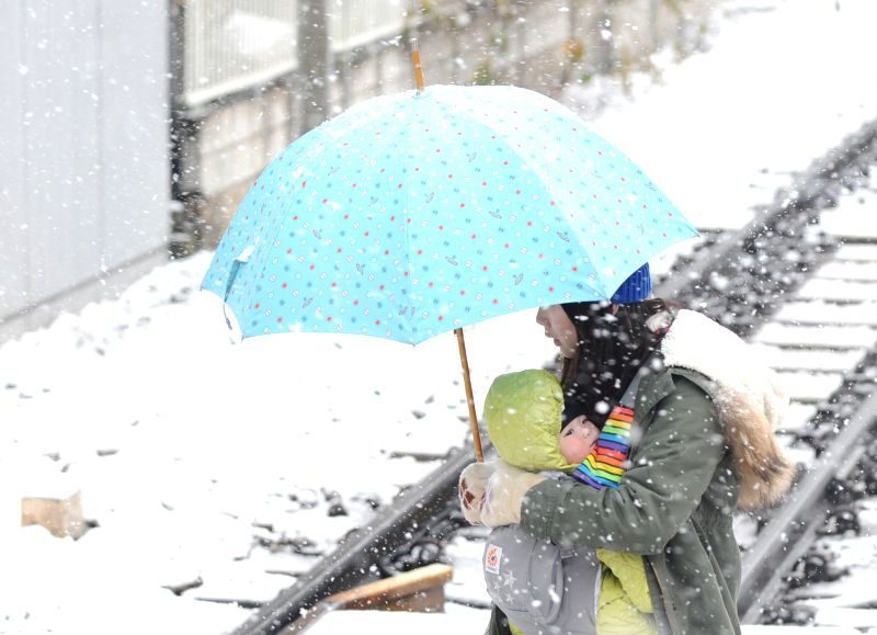 A woman holding a baby in her arm walks across a railroad line with her child as snow falls in Tokyo, Japan, Jan. 30, 2015.