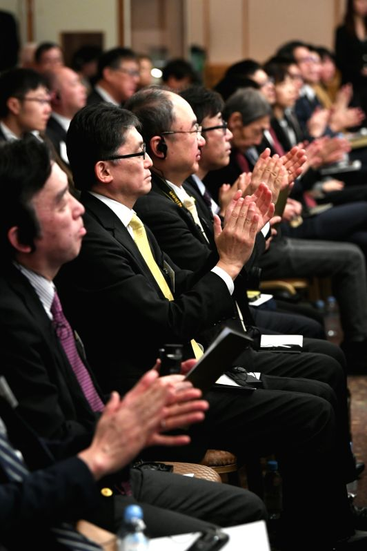 TOKYO, Jan. 31, 2018 - Delegates attend the launching ceremony of Xinhua News Agency's Japanese News Service in Tokyo, Japan, Jan. 31, 2018. China's Xinhua News Agency is to provide news service, ...