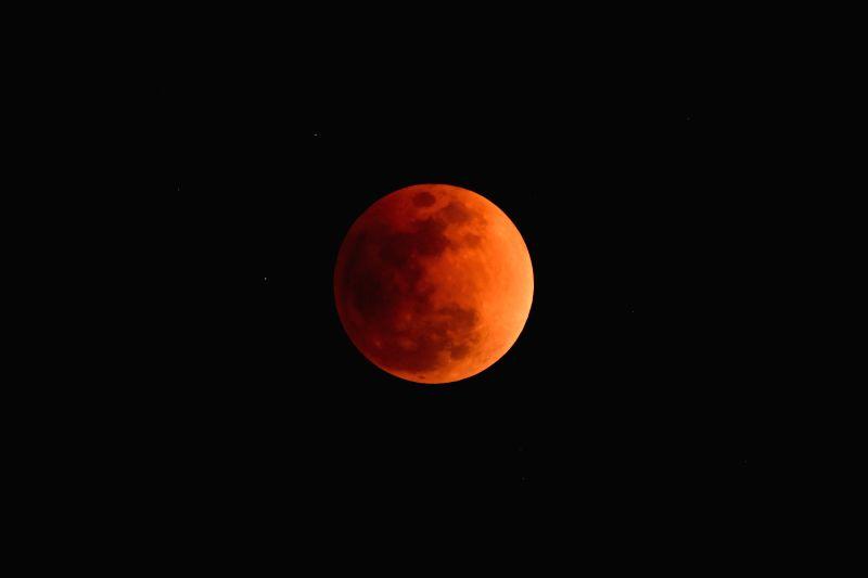 TOKYO, Jan. 31, 2018 - Red moon is seen over Tokyo, Japan, on Jan. 31, 2018.