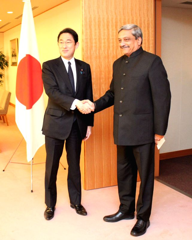 Tokyo (Japan): The Union Minister for Defence Manohar Parrikar calls on the Foreign Minister of Japan, Fumio Kishida, in Tokyo on March 31, 2015.