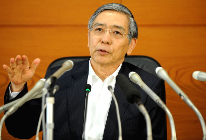The Bank of Japan (BOJ) Governor Haruhiko Kuroda speaks during a press conference at the headquarters of BOJ in Tokyo, Japan, July 15, 2014. BOJ on Tuesday lowered ...