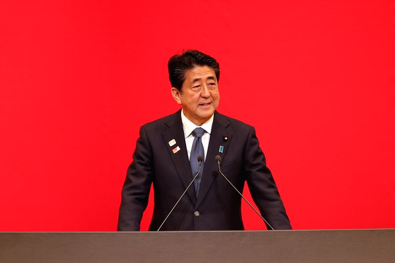 """TOKYO, July 24, 2019 (Xinhua) -- Japanese Prime Minister Shinzo Abe speaks during the """"One Year to Go"""" ceremony celebrating one year out from the start of the Tokyo 2020 Olympic Games in Tokyo, Japan, July 24, 2019. (Xinhua/Du Xiaoyi/IANS)"""