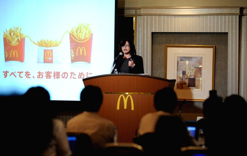 Sarah Casanova, President and Chief Executive Officer of McDonald's Holdings Japan, speaks during a press conference in Tokyo, Japan, July 29, 2014. McDonald's ...