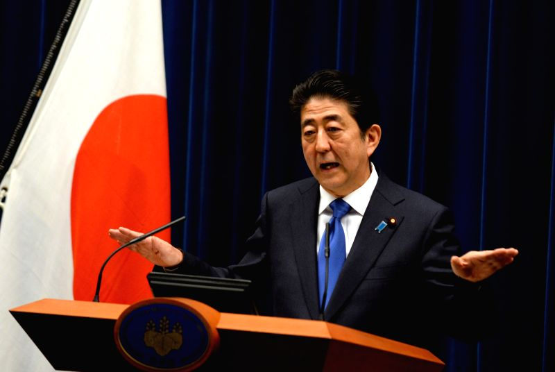 TOKYO, June 1, 2016 - Japanese Prime Minister Shinzo Abe speaks during a press conference at the prime minister's official residence in Tokyo, June 1, 2016. Japanese Prime Minister Shinzo Abe on ... - Shinzo Abe