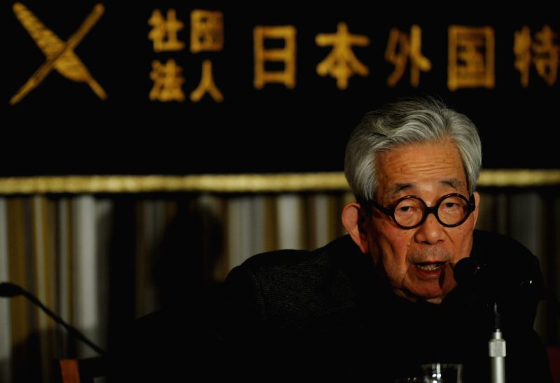 Japanese Nobel Laureate Kenzaburo Oe speaks during a press conference in Tokyo, Japan, March 10, 2015. Oe and journalist Satoshi Kamata held a press conference to ...