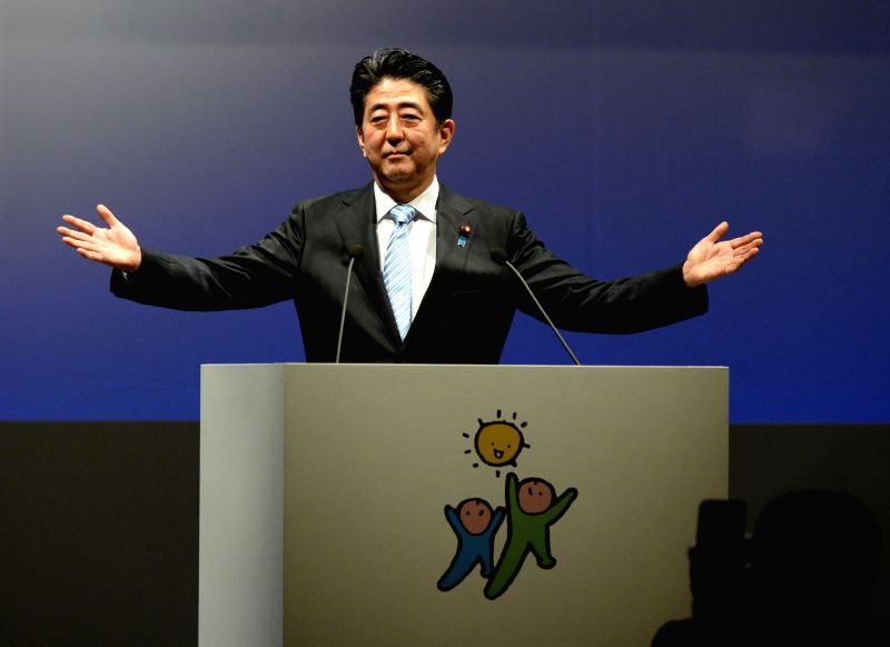 Japanese Prime Minister Shinzo Abe delivers a speech during the annual convention of the Liberal Democratic Party (LDP), in Tokyo, Japan, March 8, 2015. Japanese ... - Shinzo Abe