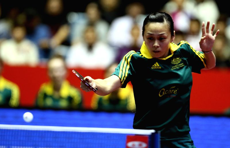 Australia's Miao Miao returns a shot to Japan's Mori Sakura during their women's team event at the Zen Noh 2014 World Table Tennis Championships in Tokyo, Japan, May 1,