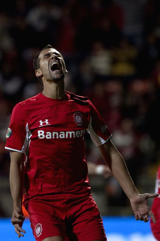 Pablo Velazquez of Toluca reacts during the semi-finals match of Opening Tournament of the MX League, against Tigres, at Nemesio Diez Stadium, in Toluca, Mexico State, Mexico, on Dec. 4, ...
