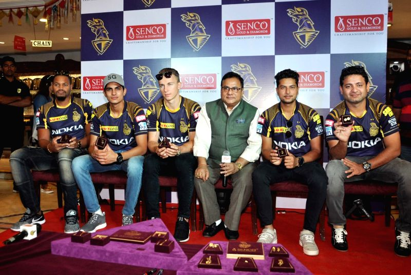 Tom Curran, Javon Searles, Subhman Gill, Kuldeep Yadav and Piyush Chawla during a promotional programme in Kolkata on April 13, 2018. - Kuldeep Yadav