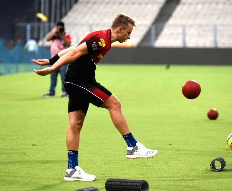 Tom Curran of Kolkata Knight Riders during a practice session, in Kolkata on April 12, 2018.